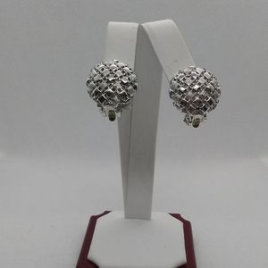 Silver Puffy Quilted Checkerboard Clip Earrings